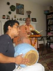 07-Narayana Prabhu from Venezuela impressed Janardan Maharaj with his mridanga playing