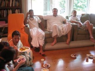 11-Prabhus Sakhi Charan, Vidura Krishna and Dayita Krishna kicking back after a sumptuous prasad