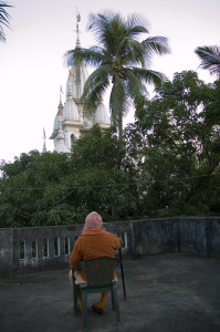 Srila Gurudev over looking the Nabadwip Math from the roof of his Verandah