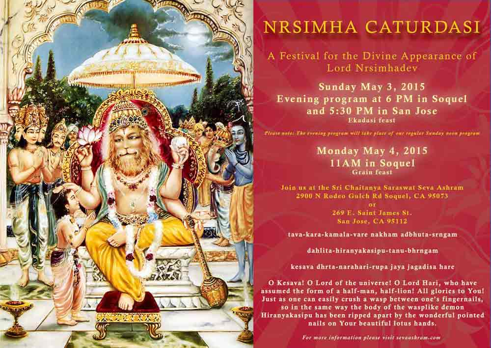 Nrsimha Chaturdasi Poster 2015 at Seva Ashram