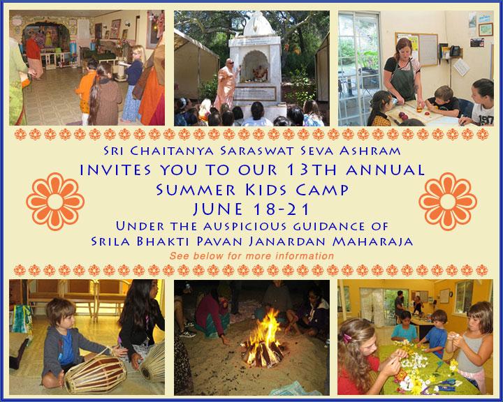 Invitation poster for summer camp at the Seva Ashram