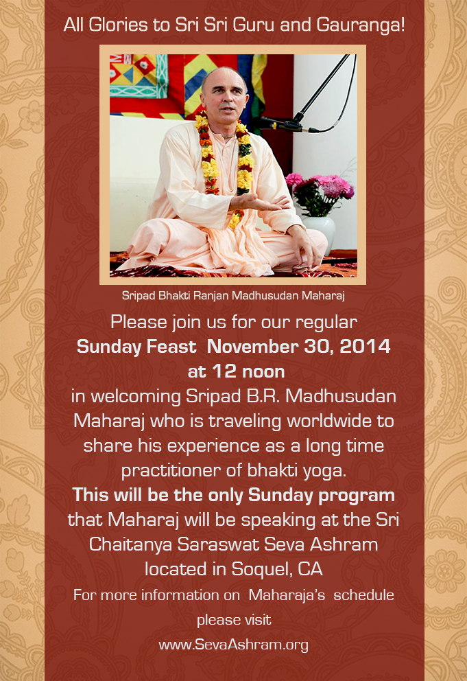 Poster for Sunday Feast with Madhusudan Maharaj