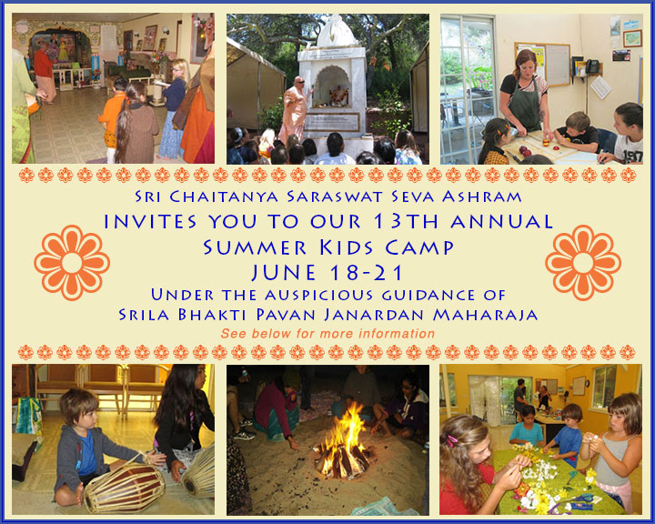 Invitation poster for summer camp at the Seva Ashram